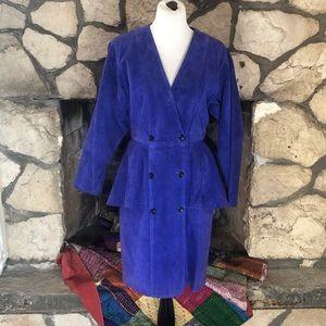 Vintage Brilliant Blue Purple Suede Peplum Dress